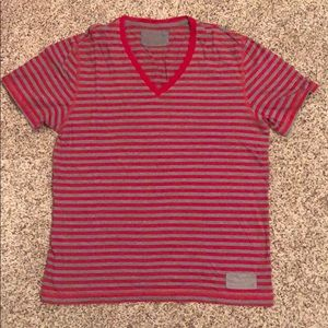 EXPRESS—red and gray stripe v-neck shirt